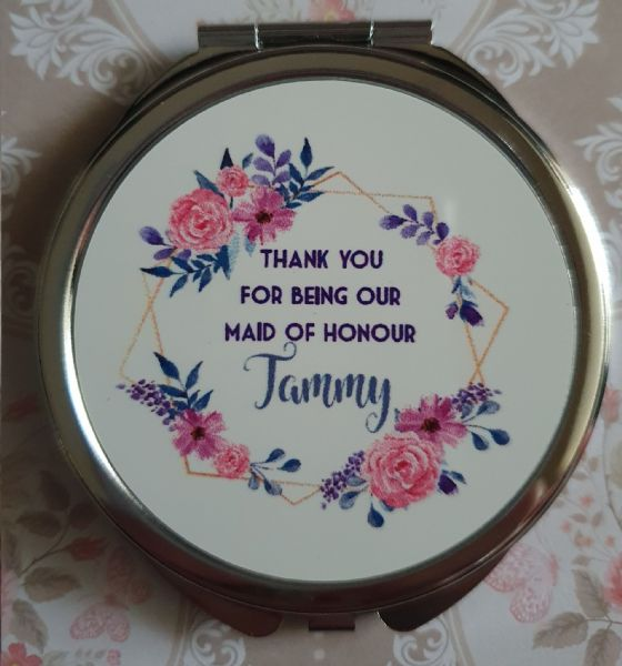 Personalised Wedding Compact Mirror - Design 2